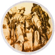 J.c. Fremont And His Guide, Kit Carson Round Beach Towel