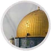 Jerusalem Dome Of The Rock  Round Beach Towel