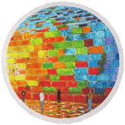 Jerusalem Wailing Wall Original Acrylic Palette Knife Painting Round Beach Towel