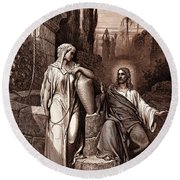 Jesus And The Woman Of Samaria Round Beach Towel