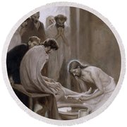 Jesus Washing The Feet Of His Disciples Round Beach Towel