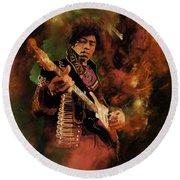 Jimi Hendrix 01 Round Beach Towel