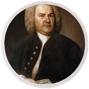 Johann Sebastian Bach, German Baroque Round Beach Towel