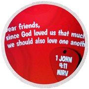 1 John Bible Verse Round Beach Towel