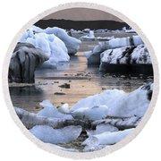 Jokulsarlon Glacier Lagoon Iceland 2050 Round Beach Towel