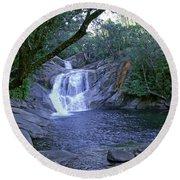 Josephine Falls And Tropical Pool Round Beach Towel