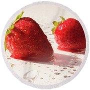 Juicy Strawberries Round Beach Towel