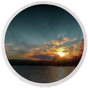 June Sunset On Nicks Lake Round Beach Towel