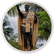Kamehameha The Great Round Beach Towel