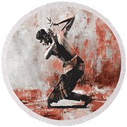 Kathak Dancer  Round Beach Towel