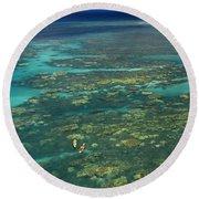 Kayaking Through Beautiful Coral Round Beach Towel