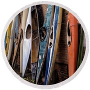 Kayaks Lined Up On Wall Round Beach Towel