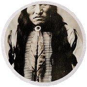 Kicking Bear Indian Chief Round Beach Towel