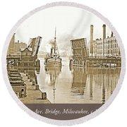 Kilbourn Avenue Bridge, Milwaukee, Wisconsin, 1915-1920, Vintage Round Beach Towel