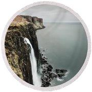 Kilt Rock Waterfall - Isle Of Skye Round Beach Towel