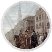 King Charles II Of England Round Beach Towel