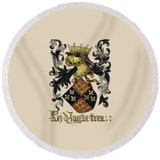 King Of England Coat Of Arms - Livro Do Armeiro-mor Round Beach Towel