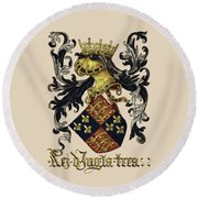 King Of England Coat Of Arms - Livro Do Armeiro-mor Round Beach Towel by Serge Averbukh