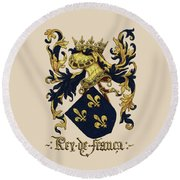 King Of France Coat Of Arms - Livro Do Armeiro-mor  Round Beach Towel by Serge Averbukh