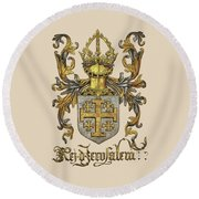 Kingdom Of Jerusalem Coat Of Arms - Livro Do Armeiro-mor Round Beach Towel by Serge Averbukh