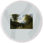 Klassische Landschaft Mit Arkadischer Round Beach Towel