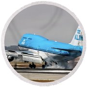 Klm Royal Dutch Airlines Boeing 747 Airplane Landing At San Francisco Airport In San Francisco, Cali Round Beach Towel