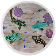 Koi Fish Feng Shui Round Beach Towel