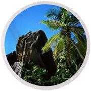 La Digue Island - Seychelles Round Beach Towel