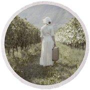 Lady In Vineyard Round Beach Towel by Joana Kruse
