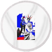 Lady Liberty's Torch Adjusted Parade Tucson Arizona Color Added Round Beach Towel