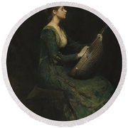 Lady With A Lute Round Beach Towel