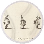 Lady With Dress Gathered Up, And Two Gentlemen Round Beach Towel