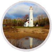 Lake Huron Lighthouse Round Beach Towel