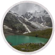 Lake Locce And Monte Rosa - Piedmont / Italy Round Beach Towel