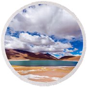 Lake Meniques In Chile Round Beach Towel