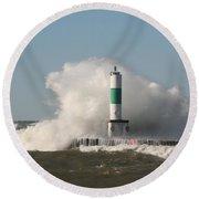 Lake Michigan Wave Round Beach Towel