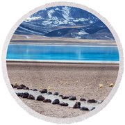Lake Miscanti In Chile Round Beach Towel