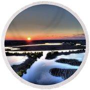 Lake Poygan Sunset Round Beach Towel