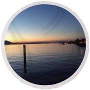 Lake Zurich At Sunset Round Beach Towel