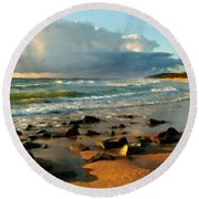 Landscape Drawing Round Beach Towel
