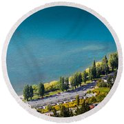 Landscape Of Lake In The South Island, Queenstown New Zealand  Round Beach Towel