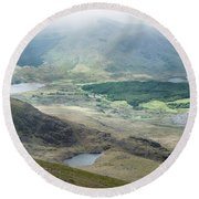 Landscape View Of Llyn Cwellyn And Moel Cynghorion In Snowdonia  Round Beach Towel