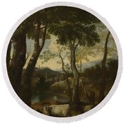 Landscape With A Cowherd Round Beach Towel