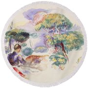 Landscape With A Girl Round Beach Towel by Auguste Renoir