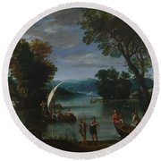 Landscape With A River And Boats Round Beach Towel