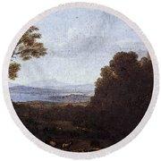 Landscape With Apollo And Mercury  Round Beach Towel