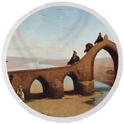 Landscape With Bridge Round Beach Towel