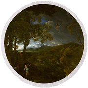 Landscape With Elijah And The Angel Round Beach Towel