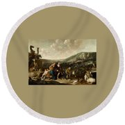 Landscape With Jacob And Rachel Round Beach Towel