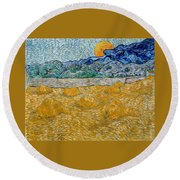 Landscape With Wheat Sheaves And Rising Moon Round Beach Towel